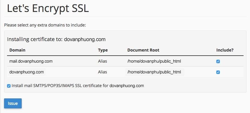 Kích hoạt SSL Let's Encrypt