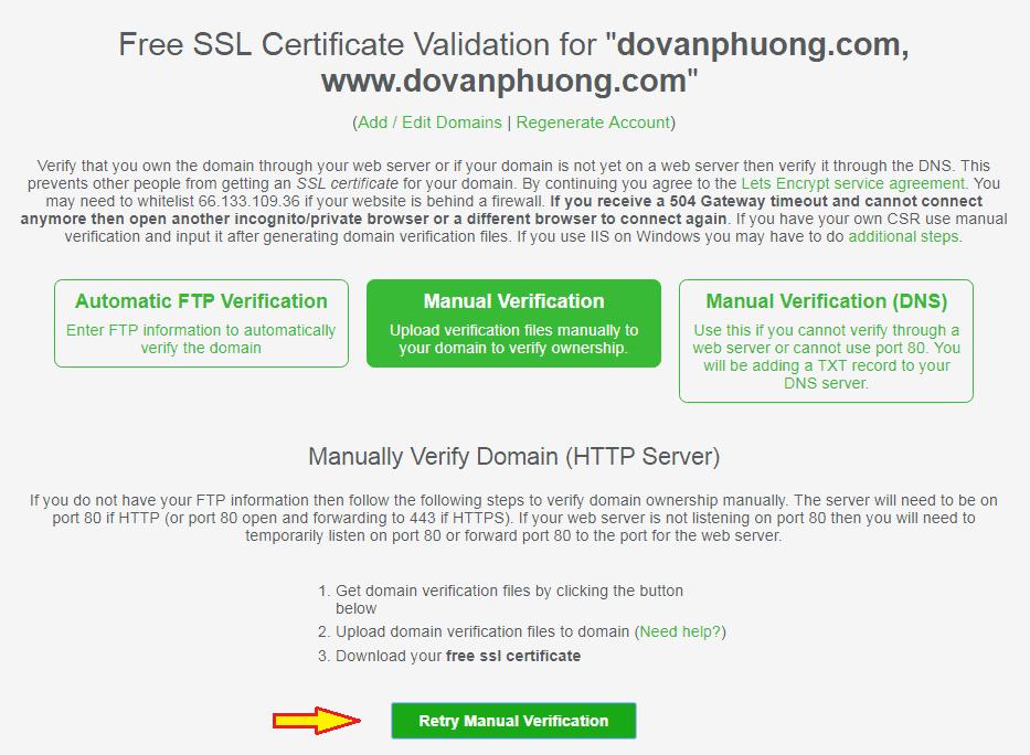 Manually Verify Domain