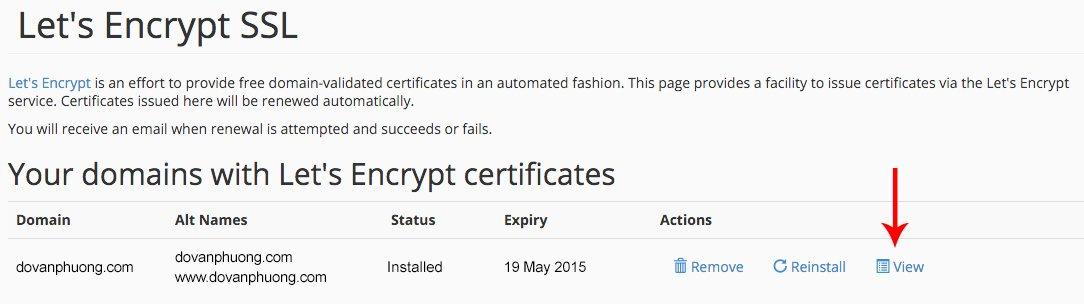 Cài Let's Encrypt thành công