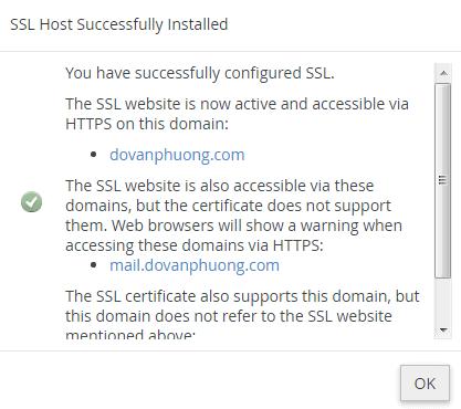 Cài SSL thành công