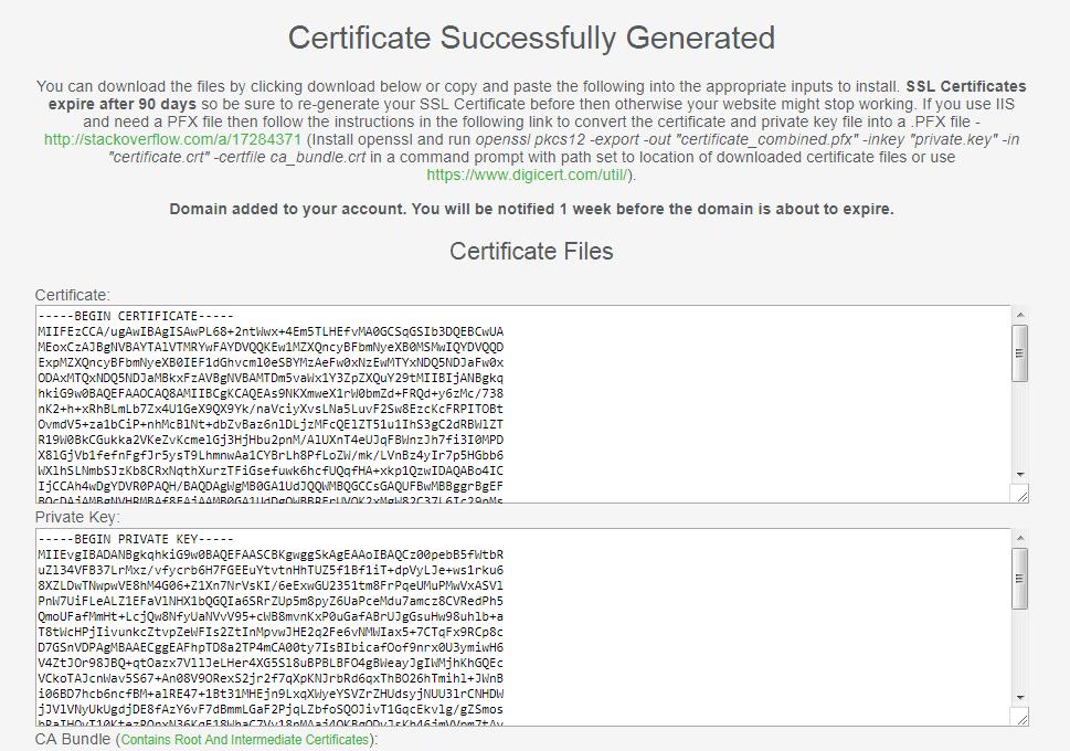 Tạo chứng chỉ SSL thành công
