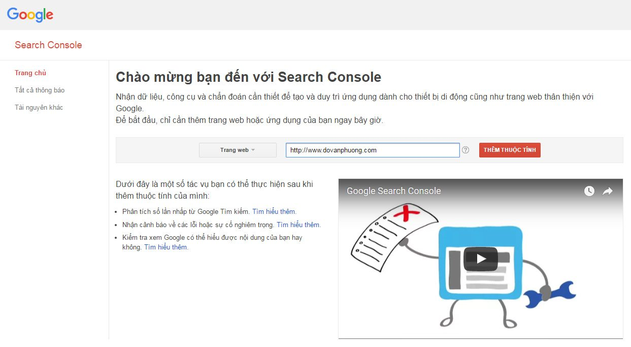 Đăng ký website với Google