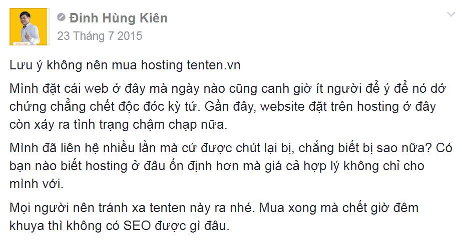 Đánh giá hosting tenten.vn