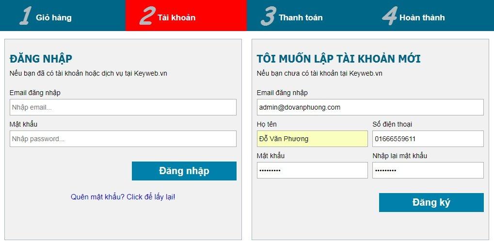 Đăng ký tài khoản hosting
