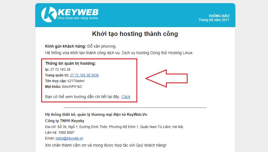 Thông tin quản trị hosting