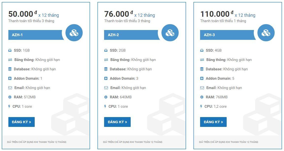 Bảng giá hosting SSD của Azdigi