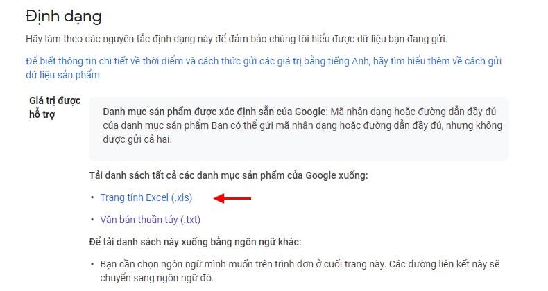 Tải danh mục sản phẩm Google Shopping