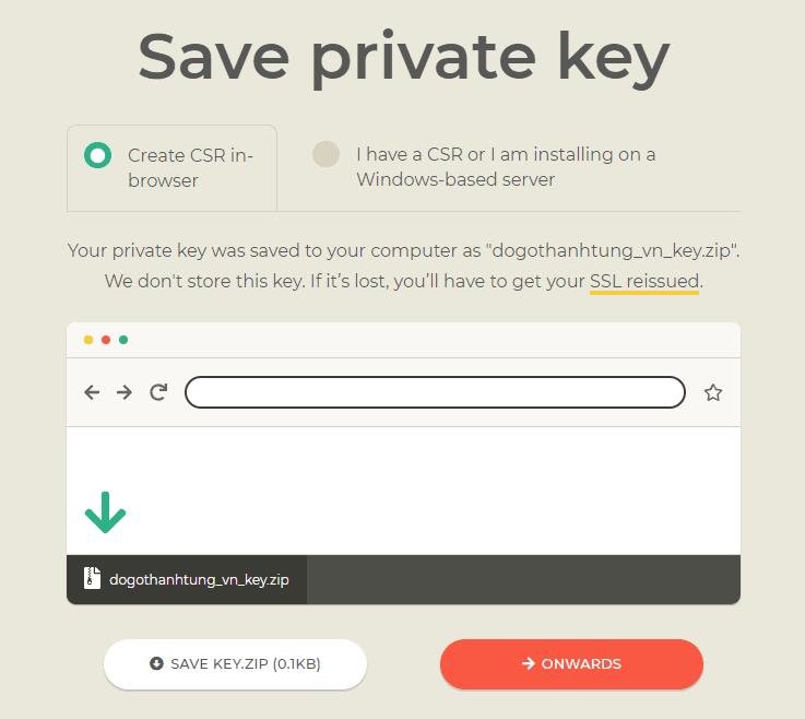 Lưu private key về máy tính