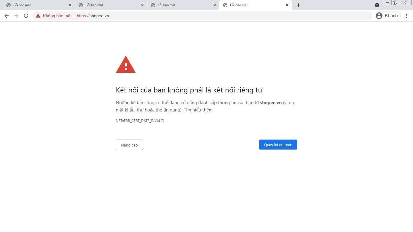SSL miễn phí Let's Encrypt hết hạn khiến Shopee không thể truy cập
