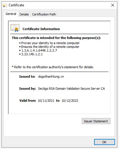 Xem thông tin chứng chỉ SSL